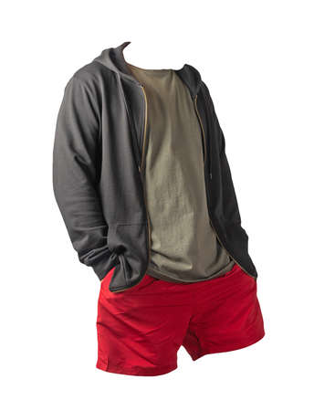black sweatshirt with iron zipper hoodie, olive t-shirt and red sports shorts isolated on white background. casual sportswear 免版税图像