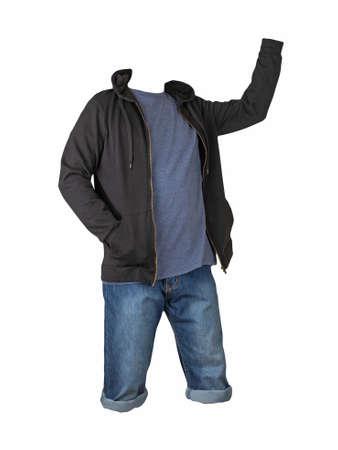 Denim dark blue shorts, navy t-shirt and black sweatshirt with zipper and hood isolated on white background 免版税图像