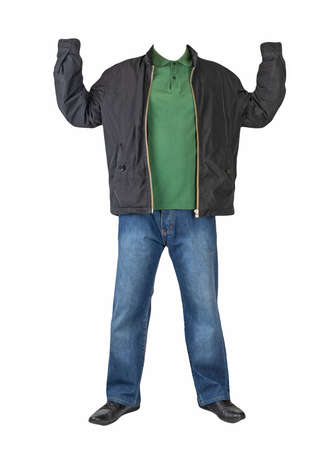 dark blue jeans, dark green t-shirt with a collar on buttons, black jacket with hoodand and black leather shoes isolated on white background