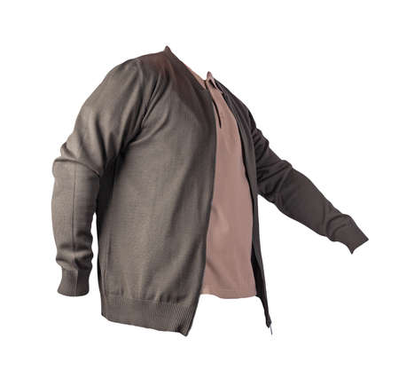 dark green men's knitten bomber jacket and beige shirt isolated on white background. fashionable casual wear