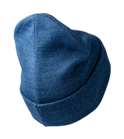 knitted denim blue hat isolated on a white background.fashion hat accessory for casual style
