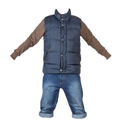denim dark blue shorts, brown knitted sweater and dark blue sleeveless jacket isolated on white background