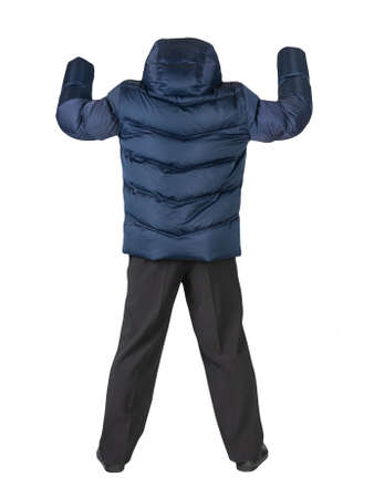 men's dark blue down jacket, black pants and black leather shoes isolated on white background. men's autumn clothes 免版税图像