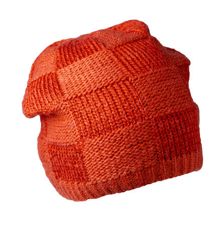 Women's red hat. knitted hat isolated on white background. 免版税图像