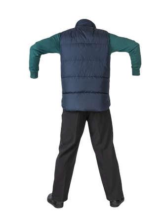 dark blue sleeveless jacket, black pants, green sweater and black leather shoes on white background
