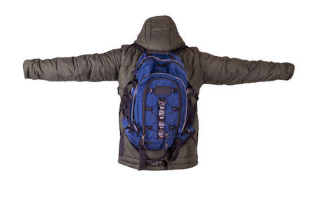 black backpack dressed in dark green jacket with hood isolated on a white background. rear view of a backpack and jacket