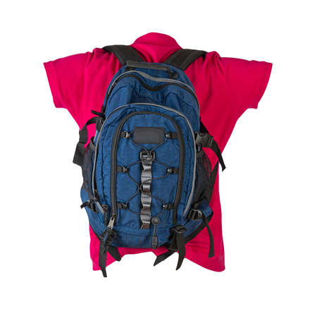 blue backpack dressed for red t-shirt isolated on a white background. backpack and male sweater view from the back
