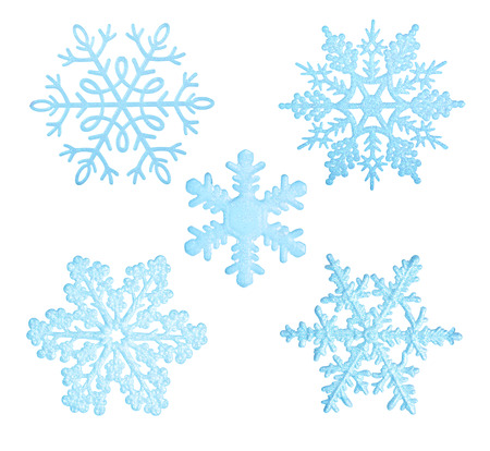 Blue snowflakes isolated on white background.