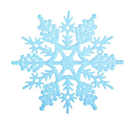 白い背景に分離された青い雪の結晶。