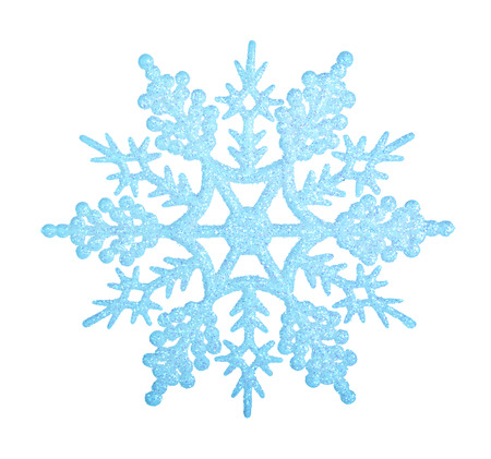 Blue snowflake isolated on white background. Banque d'images