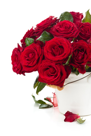Red roses in bucket isolated on white background. photo