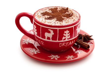 Christmas decorated cup with hot chocolate for holidays.