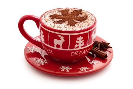 クリスマスは、休日のためのホット チョコレートのカップを装飾されています。