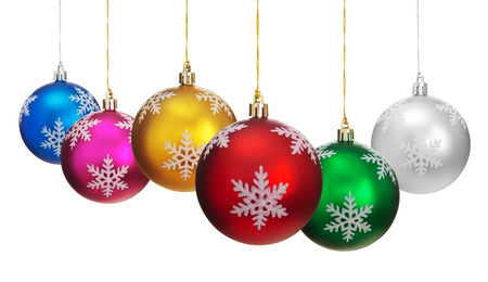 Colorful Christmas balls hanging  in a row. Isolated on white background. photo