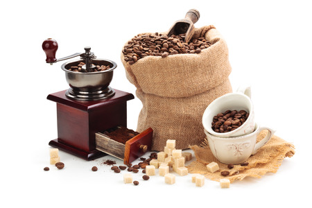 Coffee and coffee accessories ingredients. Isolated on white background.