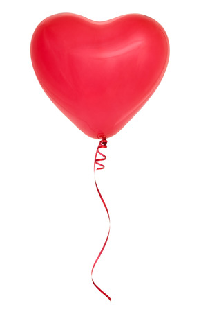 love: Red heart-shaped balloon isolated on white background. Stock Photo