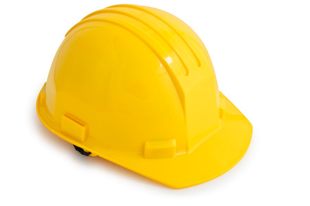 hard: Yellow safety hard hat. Isolated on white background.