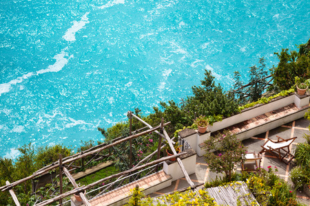 View from above at one of  terraces  in Positano, Amalfi coast. photo