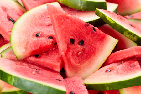 sliced watermelon: Close-up shot of fresh sliced watermelon. Stock Photo