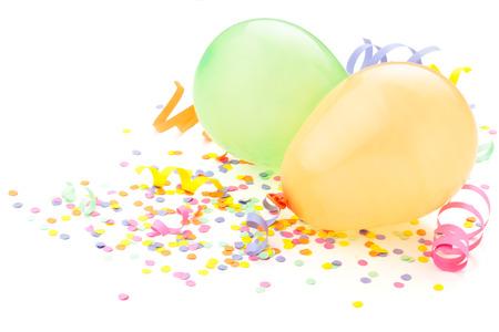 Birthday arrangement. Balloons and confetti isolated on white. Standard-Bild