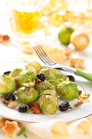 selebration: Baked Brussel sprouts with almonds and grapes for holidays.