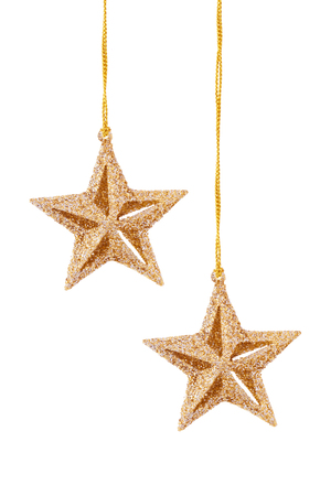 star ornament: Hanging gold  stars  isolated on white background.