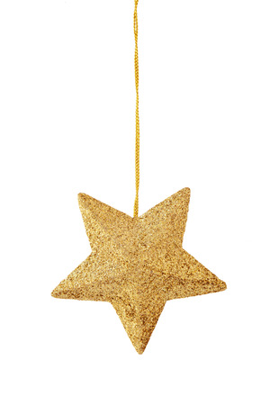 Hanging gold  star  isolated on white background. Stock Photo