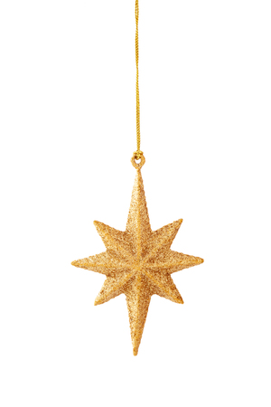 Hanging gold  star  isolated on white background. Banque d'images