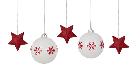 stock photo white christmas balls with painted red patterns hanging in a row isolated on white background - White Christmas Balls