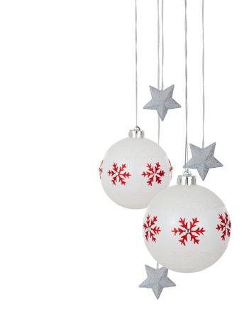 border of white christmas balls and silver stars isolated on white background stock photo - White Christmas Balls