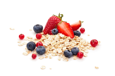 processed grains: Oats, honey and fresh fruits isolated on white background.