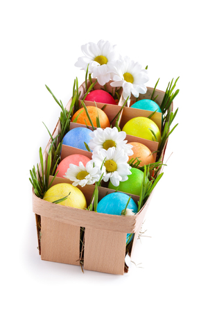 Colorful Easter eggs isolated on white background. Standard-Bild