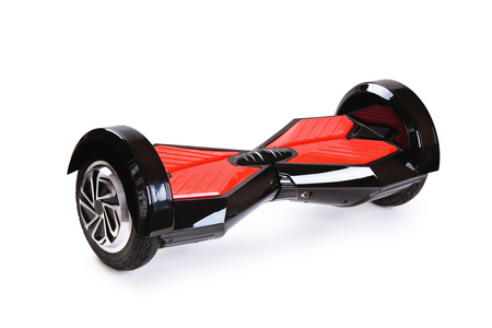 Electric mini hover board isolated on white background. Eco city transportation on battery power, produce no air pollution to atmosphere. Clean green power transport.