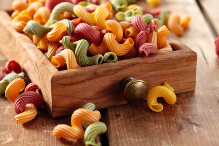 Colorful Italian pasta Amorelli in small drawer. Stock Photo