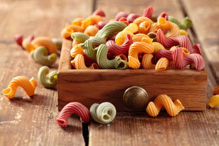 amore: Colorful Italian pasta Amorelli  in small drawer. Stock Photo