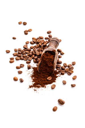 Coffee beans and ground coffee isolated on white background.