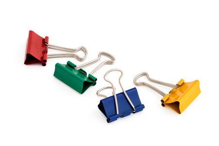Colorful paper clips. Isolated on a white background