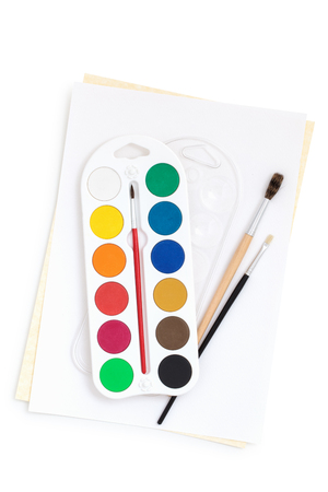 Watercolors and brushes. Stock Photo