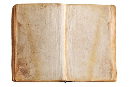 Closeup shot of old opened book isolated on white background.