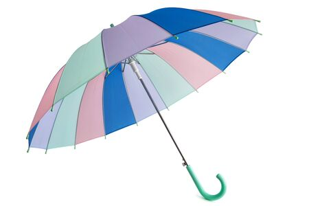 Pastel colored umbrella isolated on white background. 写真素材
