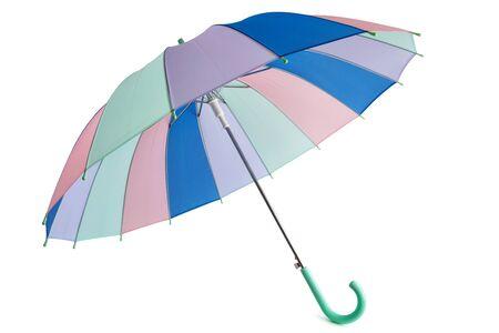 Pastel colored umbrella isolated on white background. Standard-Bild - 133697830