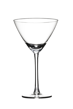 Empty martini glass against  white