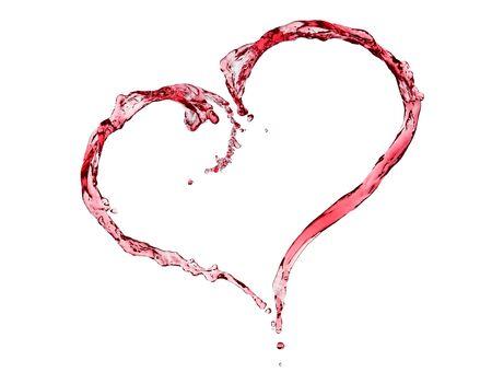 Red wine heart shaped splashing , isolated on white.