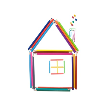 command structure: House made of colorful pencils, counting sticks, paper clips and office buttons, isolated on white background