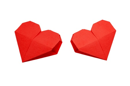 Two origami hearts  Symbol of Valentine s Day, love and happiness  Can be used as a greeting card  Ready for your logo Stock Photo - 14598226