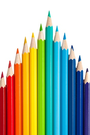 color pencils as a peak or arrows isolated on a white background Stock Photo - 15162420