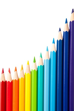 color pencils as the graph of growth and achievement isolated on a white background Stock Photo - 15162417