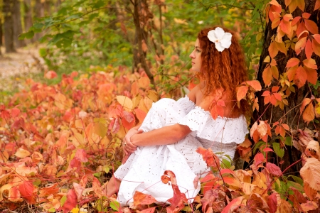 Beautiful red-haired young woman, wearing in white dress or the bride and decoration in form of flower on her head sitting among red leaves in autumn forest. Stock Photo - 15739870