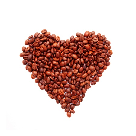 Heart symbol made from coffee beans. Ready for your text or symbol. Isolated on white background Stock Photo - 16203720