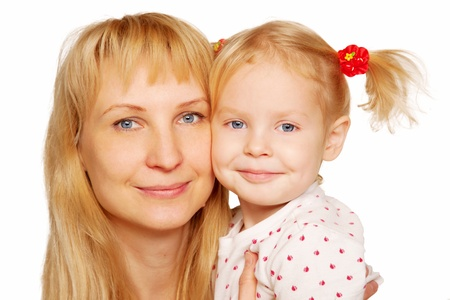blonde mom: Happy blond mother and daughter faces close-up  Isolated on white background